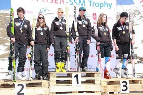 SSM Final Podest (von links) - Rohrer Pascal, Bühler Diana, Gerber Deborah, Willelms Björn, Stoller Dana, Furer Nicola   © unknow