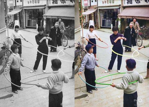 修復・色再現 作業前→作業後比較 1958(昭和33)年11月、金沢市袋町の路上