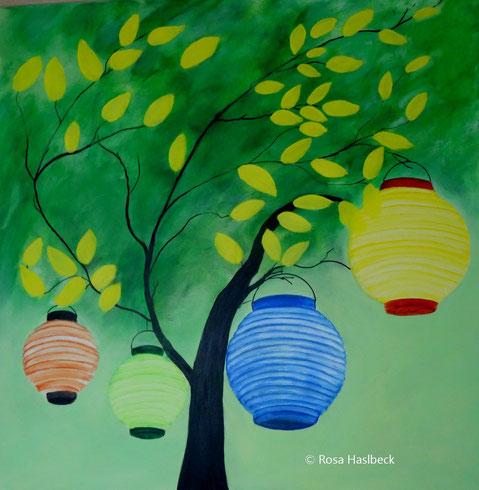acryl, acrylbild, herbstbild, bild, kunst, malen, baum ,lampions , blau, grün, gelb,