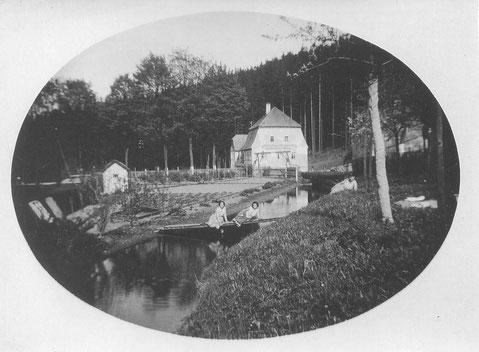 Bild: Teichler Wünschendorf Erzgebirge Damm-Mühle Wünschendorf mit Mühlgraben