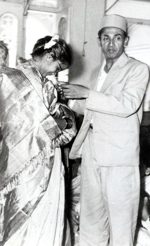 The wedding ceremony of Madhusudan and Subhuddra in Meher Baba's presence. Photo courtesy of Nan Wicker