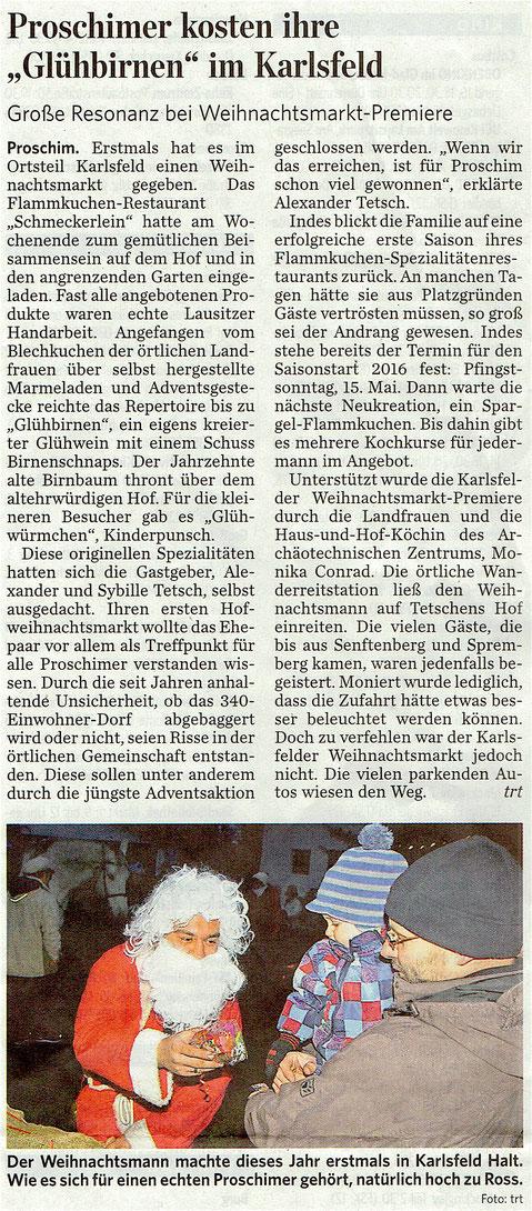 """aus der """"Lausitzer Rundschau"""" vom 7. Dezember 2015"""