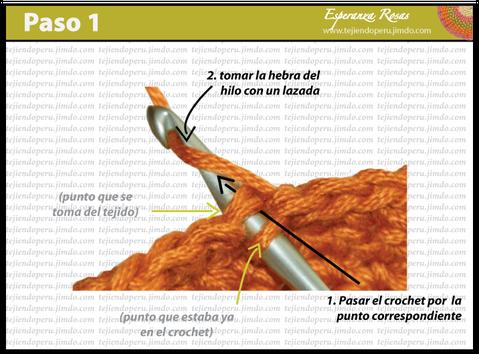 Cómo tejer el punto bajo o medio punto a crochet : paso 1