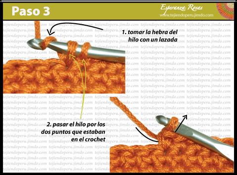 Cómo tejer el punto bajo o medio punto a crochet : paso 3