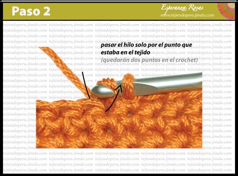 Cómo tejer el punto bajo o medio punto a crochet : paso 2