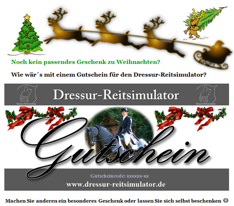 Weihnachtsgutschein Dressur Reitsimulator