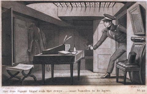 Stich zu den letzten Lebensmomenten von Van Speik – Niederlande XIX Jahrhundert