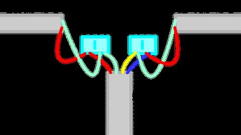 2心と4心の感知器配線のジョイント部分。