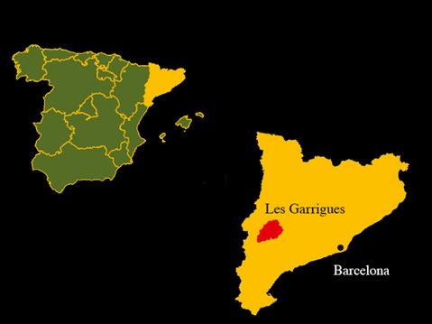 Karte DOC Garrigues, Katalonien, Davalia Olivenöl, Ciudad Condal