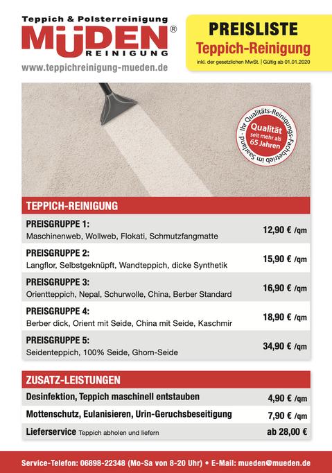 mueden.de, aktuelle Werbung, Angebote, Flyer Teppichreinigung