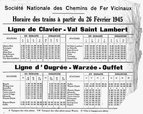 Horaire de train 1945