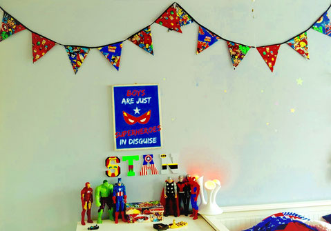 Funky Geeky bunting marvel super hero boys kids bedroom decor gift birthday him