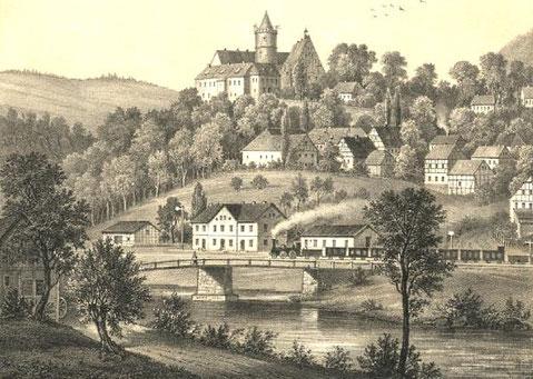 Ansicht der Burg Scharfenstein um 1866 Quelle (11)