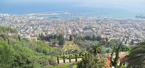The view of the Baha'i Gardens in Haifa
