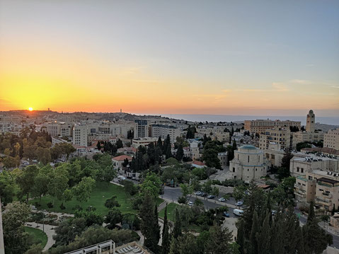 The view of Jerusalem from the Ottoman Turkish wall of the Old City
