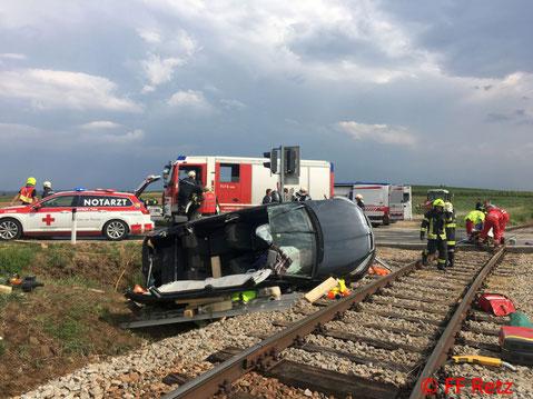 Feuerwehr, Blaulicht, FF Retz, Unfall, Eisenbahnkreuzung, PKW