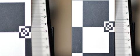 Фокус до и после корректировки и окраска зон вне фокуса