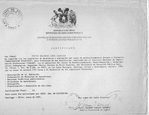 MI PRIMER CURSO DE DOCENCIA, AÑO 1990