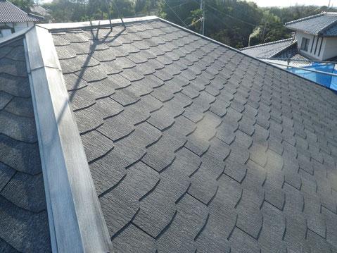 熊本市M様家コロニアル屋根塗装工事。高圧洗浄完成写真。