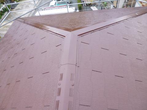 熊本市M様家のコロニアル屋根塗り替え完成。ブラウンカラーに塗装完成。