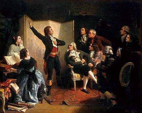 Rouget cantando el himno a sus amigos