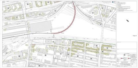 Rot eingezeichnet die verkürzten Lärmschutzwände - die DB will keinen Voll-Lärmschutz nördlich der OL Kurve