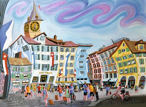 PLAZA DEL MÜNSTERHOF (ZURICH). Oil on canvas. 97 x 130 x 3,5 cm.