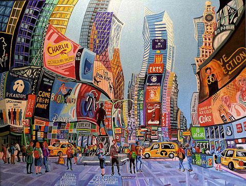 ATARDECER EN TIMES SQUARE (NEW YORK). Huile sur toile. 97 x 130 x 3,5 cm.