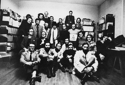 "Io sono la spia (I am the spy) - Milan 1973. Members of Global Tools brought together by ""Casabella"" magazine."