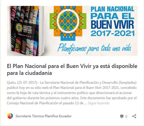"""""""Buen Vivir"""" National Plan"""
