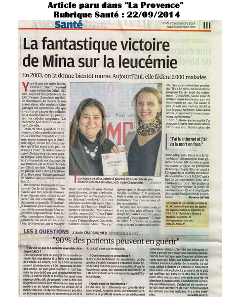 Doc aude CHARBONNIER LMC FRANCE JOURNEE MONDIALE LMC ARTICLE PRESSE MINA DABAN STEPHANE