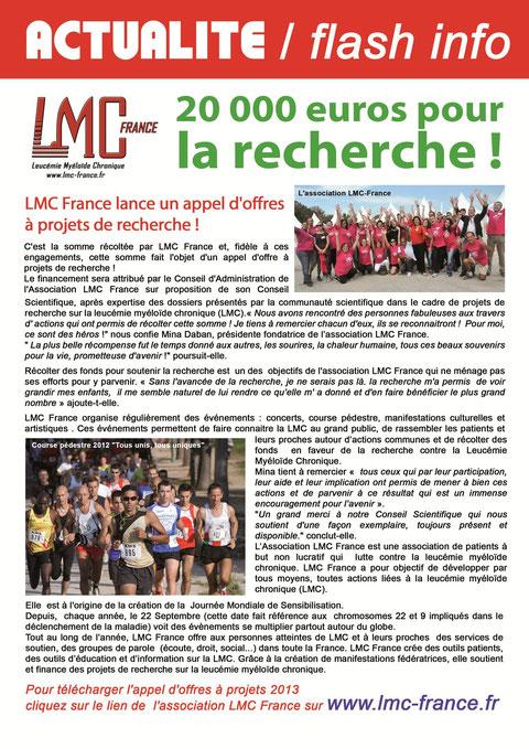 mc france appel projet recherche leucemie myeloide chronique leucémie myéloïde  20 000 euros aide don