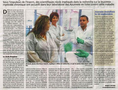 LMC FRANCE LABORATOIRE NICE MATIN AUBERGER C3M INSERM NANCY CATTAN CHERCHEURS RECHERCHE leucémie myéloïde chronique