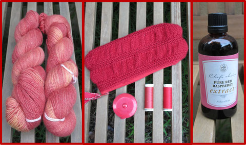 Left: Two skeins of orange-red hand-dyed cashmere yarn; Centre: A red knitted pencil case, a red retractable tape measure, and two reels of red thread; Right: A bottle of raspberry extract with a pink
