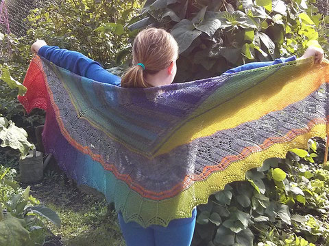 Grey and Rainbow lacy shawl