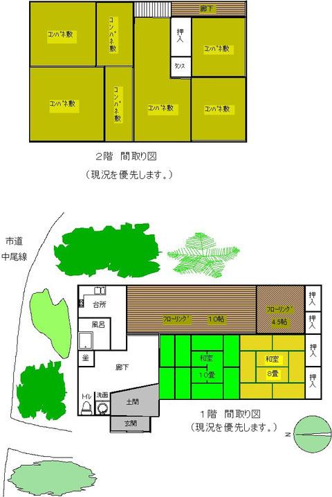 新潟県糸魚川市大字木浦の古民家間取り図