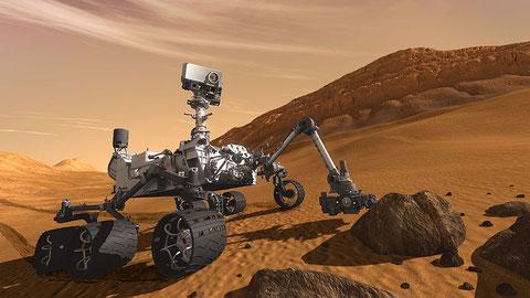 """Künstlerische Darstellung des Mars Rovers """"Curiosity"""" (NASA)"""