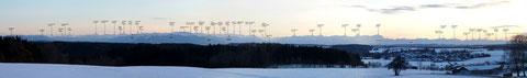 Münchner Voralpenland mit beschrifteten Gipfeln - zum Vergrößern bitte anklicken!