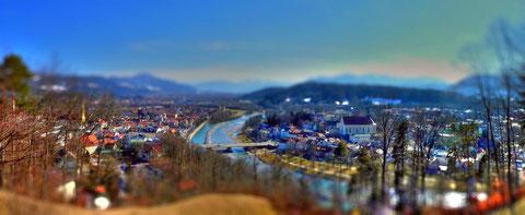 Bad Tölz, vom Kalvarienberg aus gesehen: mein erster Tilt-Shift-Versuch mit dem Online-TiltShiftMaker