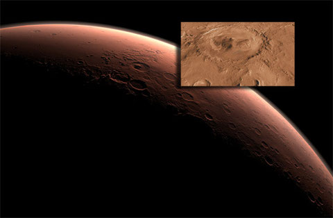 """Das Ziel der Mars-Mission """"Mars Science Laboratory"""" mit dem Mars-Rover """"Curiosity"""": der Gale Krater (NASA)"""