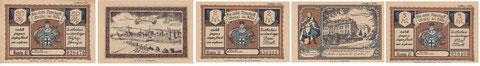 Notgeld / Gutscheine der Brühler Sparkasse / Sparkasse Köln abw.: 0,50; 1,--; 2,--; 3,-- und 5,-- Mark