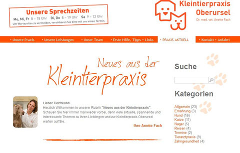 Screenshot Kleintierpraxis Oberursel Blog
