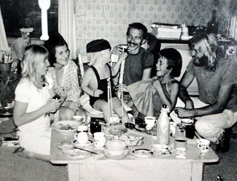 L-R  ; Judy Eden, Benita, Oliver, David, Simon Eden and John Laurie. 1972