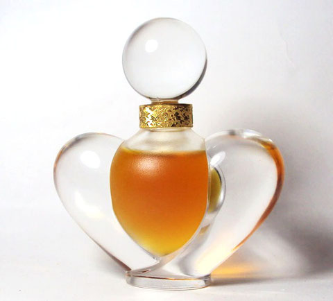 FAROUCHE - SUPERBE FLACON EN CRISTAL TRANSPARENT ET DEPOLI : PARFUM A L'INTERIEUR - FLACON CREATION LALIQUE