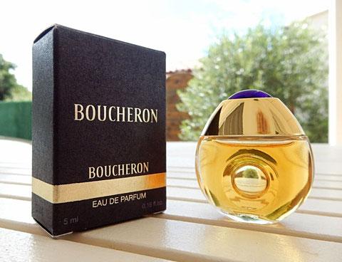 BOUCHERON - MINIATURE EAU DE PARFUM POUR FEMME 5 ML : PRESENTATION DIFFERENTE POUR LA BOÎTE ET SA MINIATURE