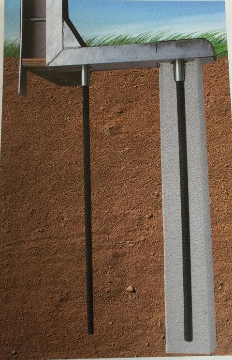 ロックボルトのコンクリート充填図