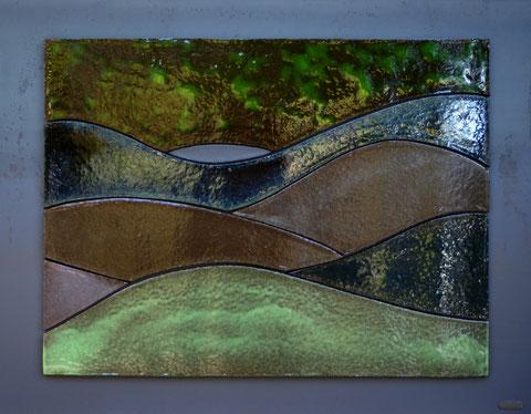 Terre cuite émaillée sur plaque d'acier - Hauteur : 60cm - Largeur : 80cm - Disponible à la vente