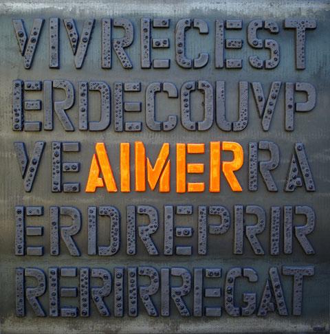 Terre cuite émaillée sur plaque d'acier - Hauteur : 100cm - Largeur : 100cm - Collection Privée (France)