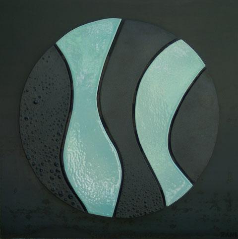 Terre cuite émaillée sur plaque d'acier - Hauteur : 62,5cm - Largeur : 62,5cm - Collection privée (France)