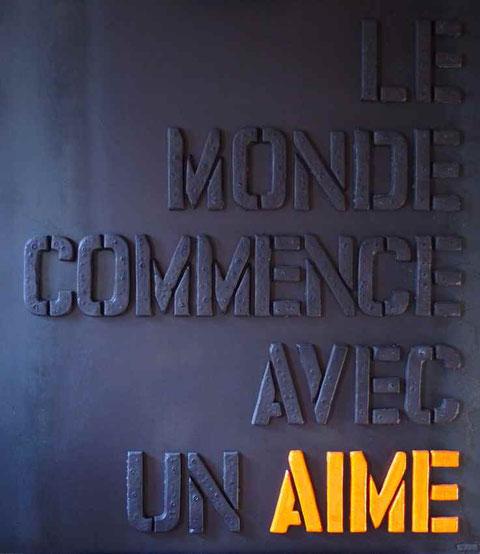 Terre cuite émaillée sur plaque d'acier - Hauteur : 100cm - Largeur : 89cm - Collection Privée (France)
